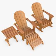Krzesła i stół w stylu Adirondack 3d model