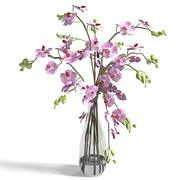 orchid flower lilies vase glass bouquet lily elegant 3d model