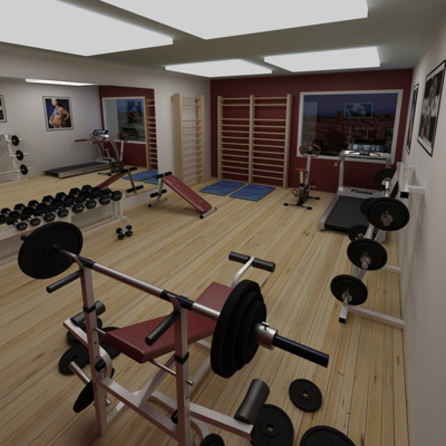 Gym royalty-free 3d model - Preview no. 1