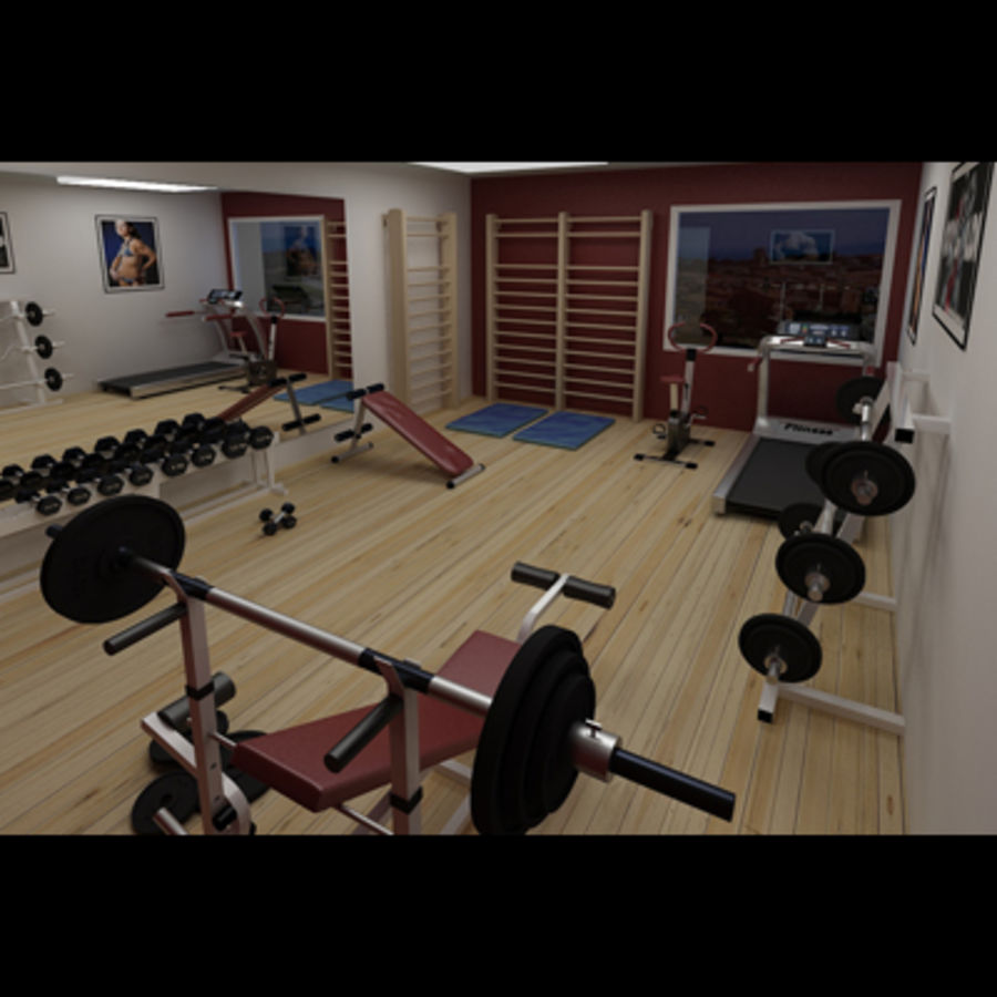 Gym royalty-free 3d model - Preview no. 2