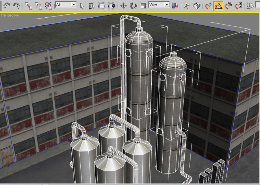 Factory Building (low poly) royalty-free 3d model - Preview no. 4
