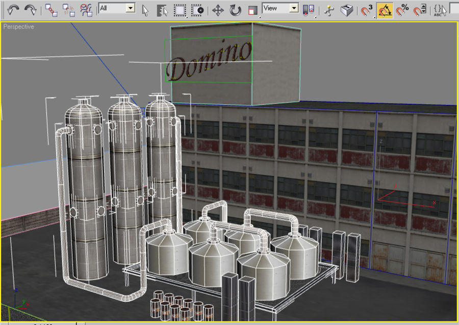 Factory Building (low poly) royalty-free 3d model - Preview no. 5