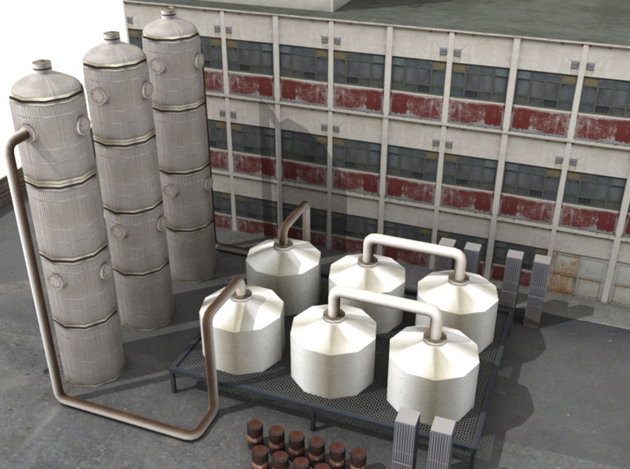 Factory Building (low poly) royalty-free 3d model - Preview no. 2