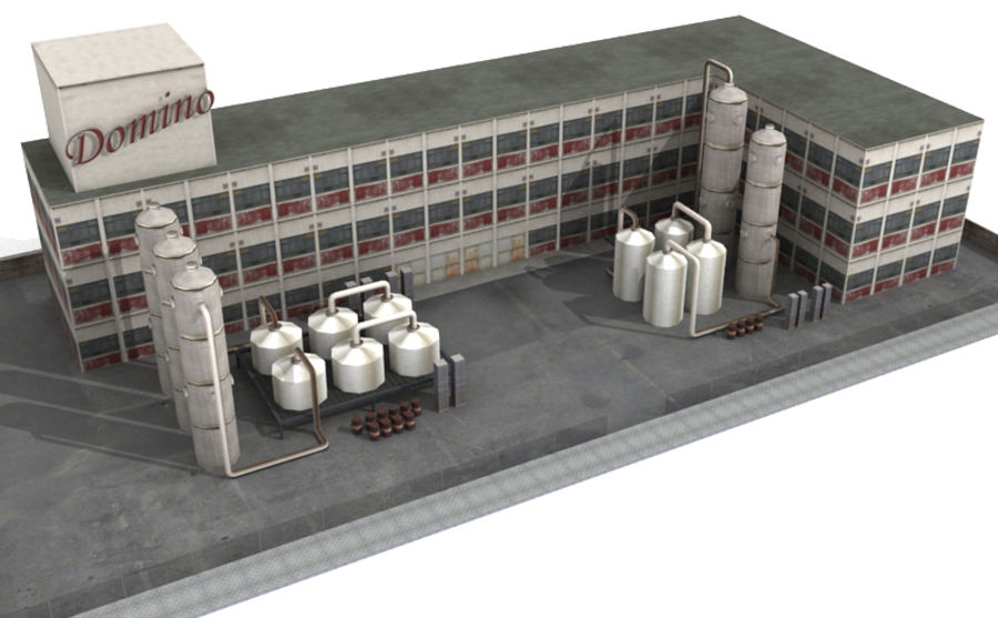 Factory Building (low poly) royalty-free 3d model - Preview no. 3