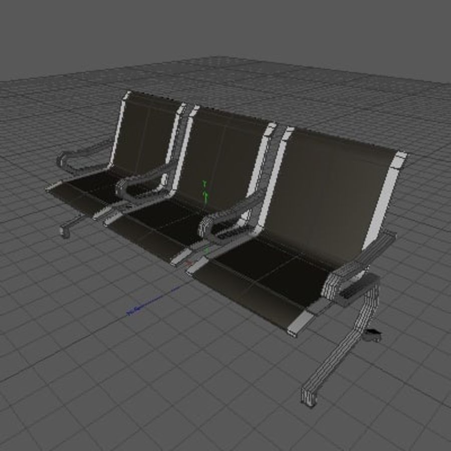 Banco para aeroporto royalty-free 3d model - Preview no. 3