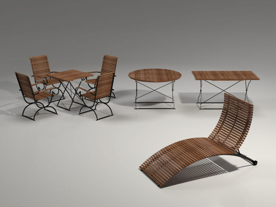 Garden Furniture Set - 3 tables, chairs, lounger royalty-free 3d model - Preview no. 1