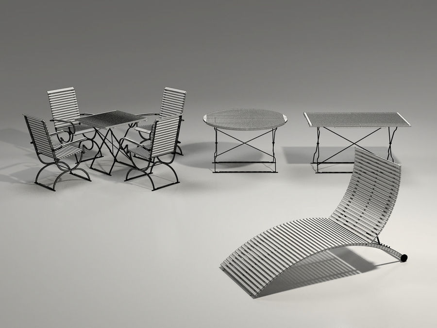 Garden Furniture Set - 3 tables, chairs, lounger royalty-free 3d model - Preview no. 6