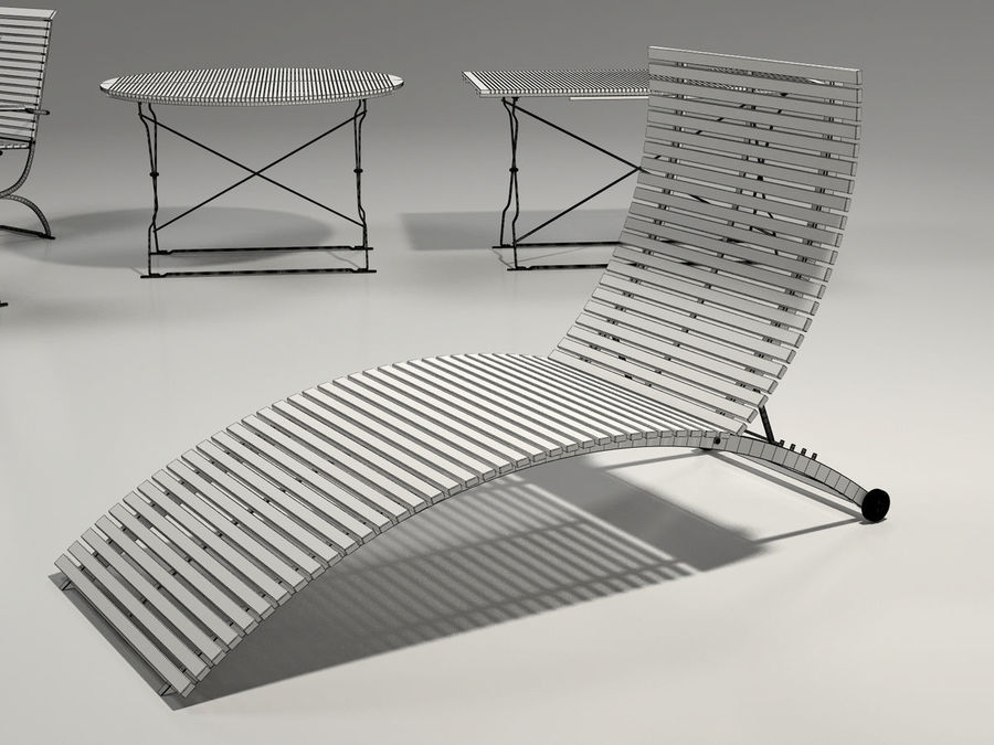Garden Furniture Set - 3 tables, chairs, lounger royalty-free 3d model - Preview no. 10