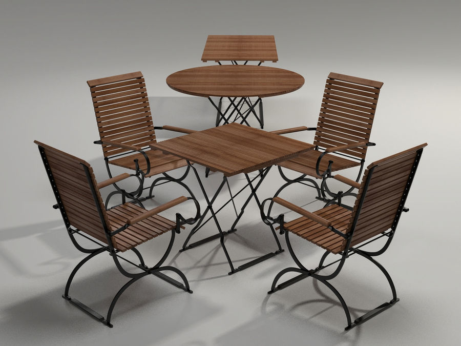 Garden Furniture Set - 3 tables, chairs, lounger royalty-free 3d model - Preview no. 2