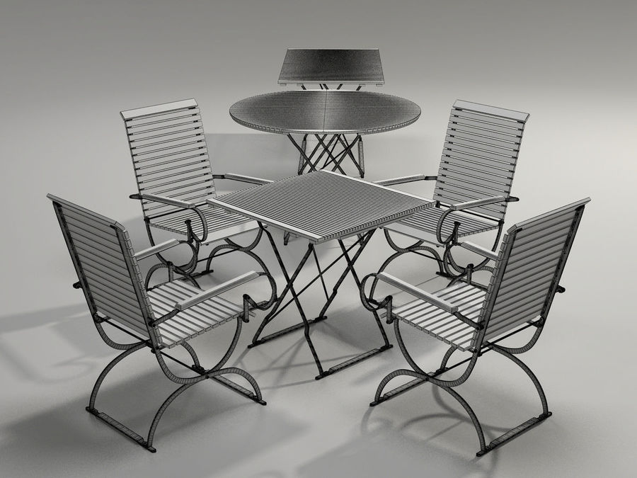 Garden Furniture Set - 3 tables, chairs, lounger royalty-free 3d model - Preview no. 7