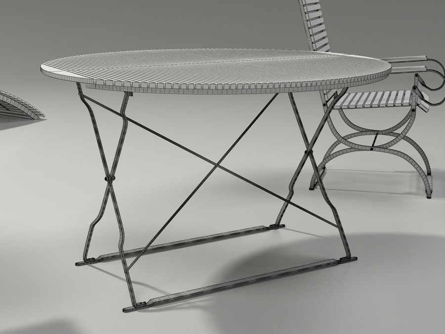 Garden Furniture Set - 3 tables, chairs, lounger royalty-free 3d model - Preview no. 8
