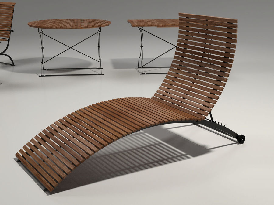 Garden Furniture Set - 3 tables, chairs, lounger royalty-free 3d model - Preview no. 5