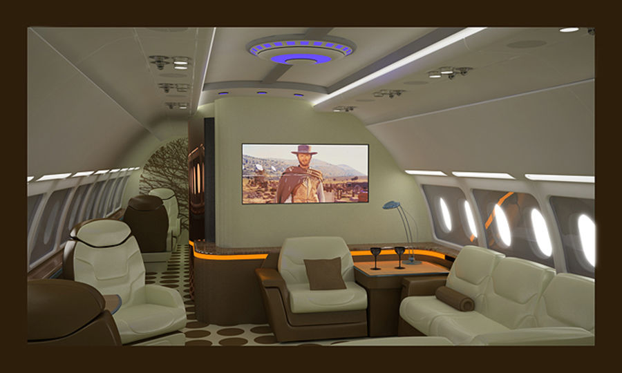 3D business aircraft seat royalty-free 3d model - Preview no. 1