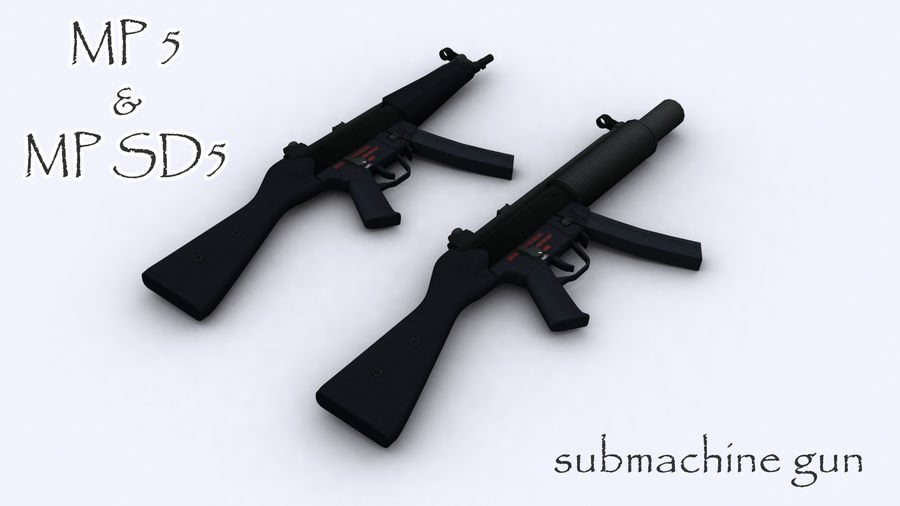 mp5 & mp sd5 royalty-free 3d model - Preview no. 1