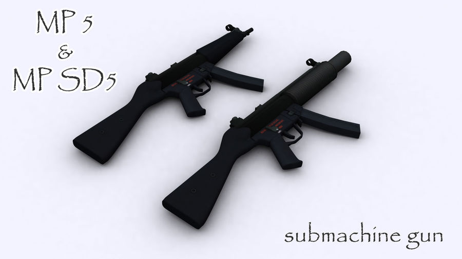 mp5 & mp sd5 royalty-free 3d model - Preview no. 4
