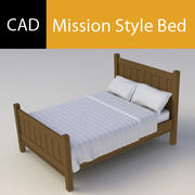 미션 스타일 침대 3d model
