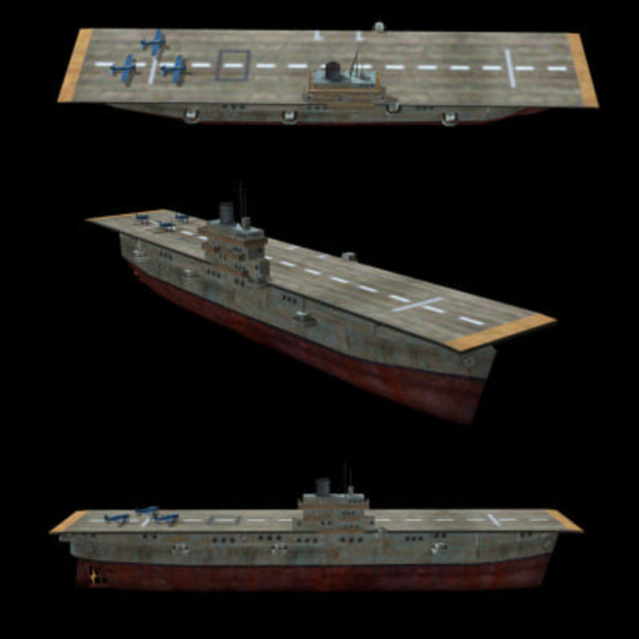 Aircraft Carrier 1939 - 1945 royalty-free 3d model - Preview no. 1