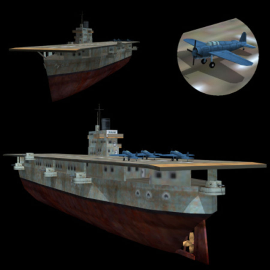Aircraft Carrier 1939 - 1945 royalty-free 3d model - Preview no. 2