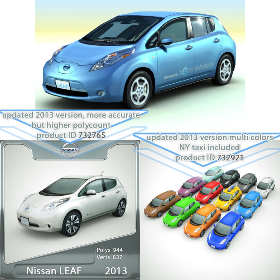 2011 Nissan  LEAF royalty-free 3d model - Preview no. 2