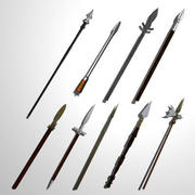 Medieval Spears / Pole Arms (low poly) 3d model