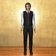 Kaiji estilo de anime de caráter masculino 3d model