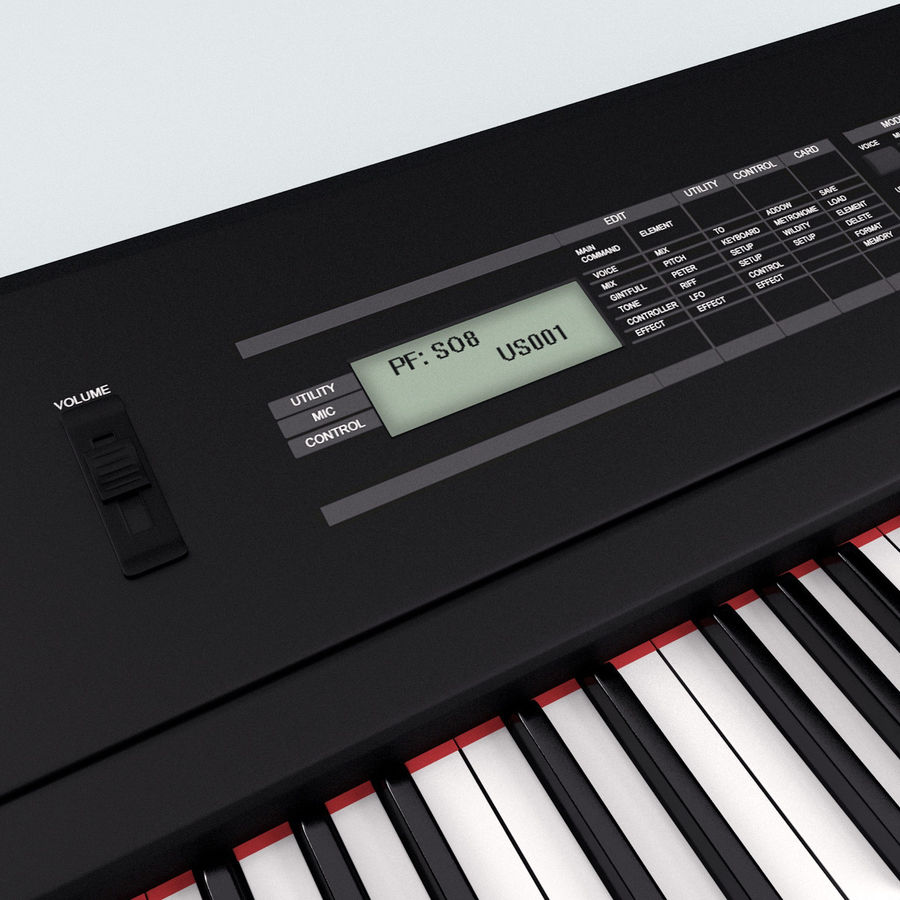 Synthesizer Yamaha S08 royalty-free 3d model - Preview no. 12