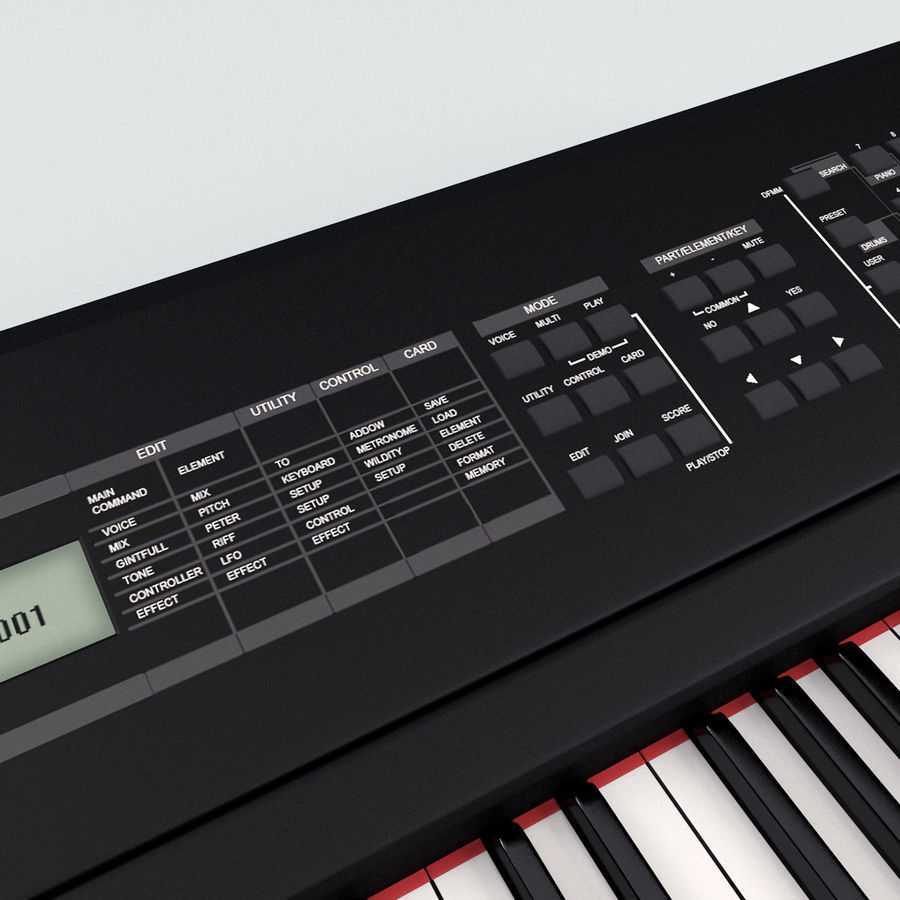 Synthesizer Yamaha S08 royalty-free 3d model - Preview no. 13