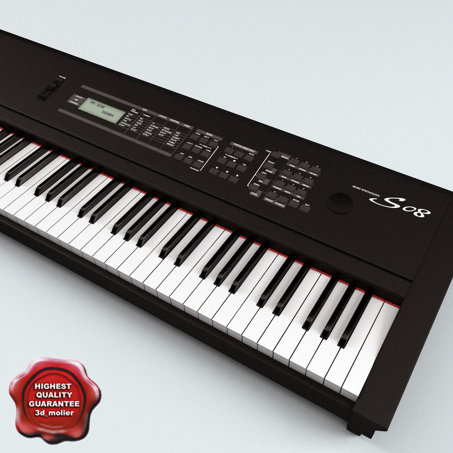 Synthesizer Yamaha S08 royalty-free 3d model - Preview no. 1