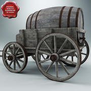 Old Wooden Cart V3 3d model