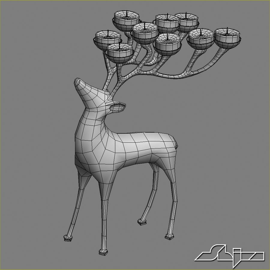 Candlestick Deer royalty-free 3d model - Preview no. 5