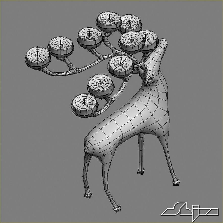 Candlestick Deer royalty-free 3d model - Preview no. 6