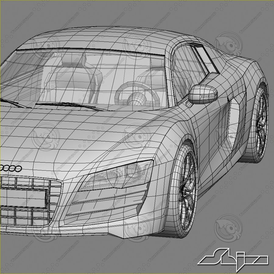 Auto Audi R8 royalty-free 3d model - Preview no. 10