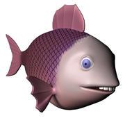 Purple Fish Character 3d model