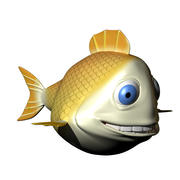 Yellow Cartoon Fish 3d model