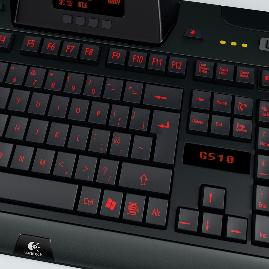 Gaming Keyboard Logitech G510 royalty-free 3d model - Preview no. 7
