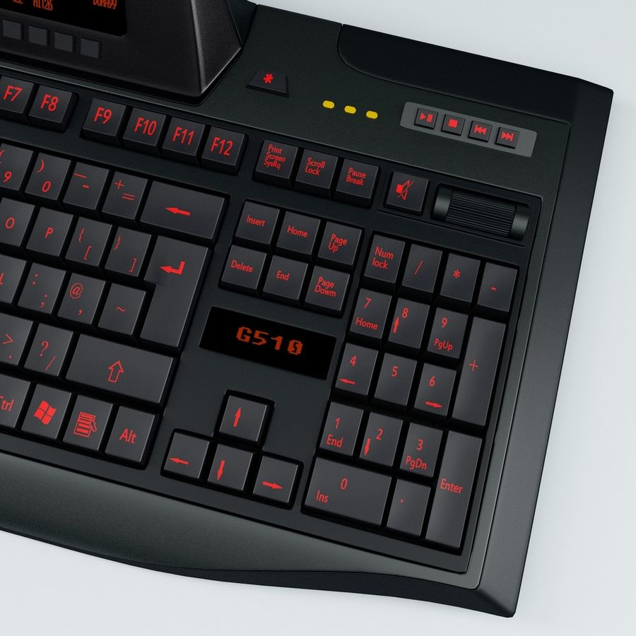 Gaming Keyboard Logitech G510 royalty-free 3d model - Preview no. 8