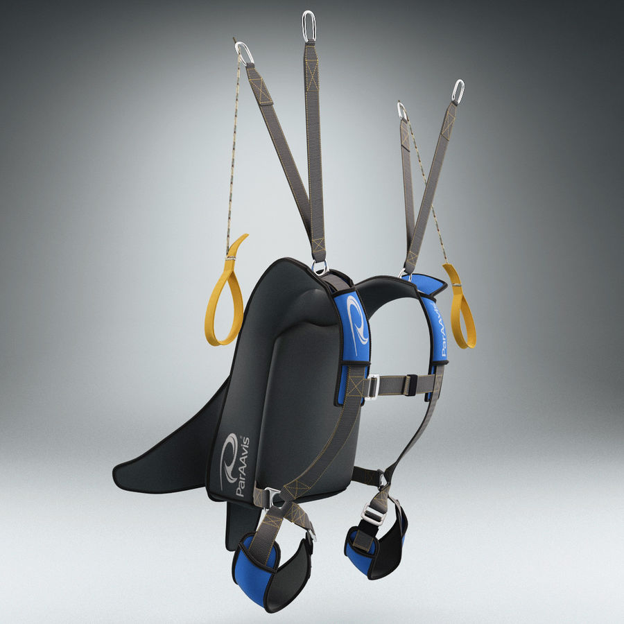 Backpack Parachute royalty-free 3d model - Preview no. 3
