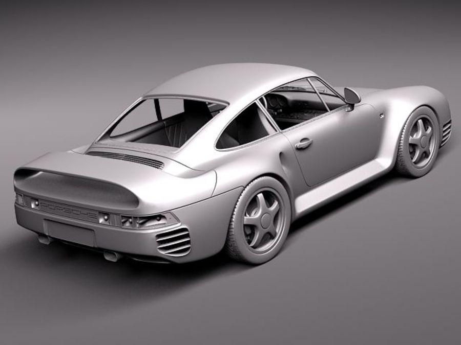Porsche 959 1986 royalty-free 3d model - Preview no. 11
