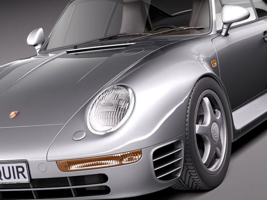 Porsche 959 1986 royalty-free 3d model - Preview no. 3
