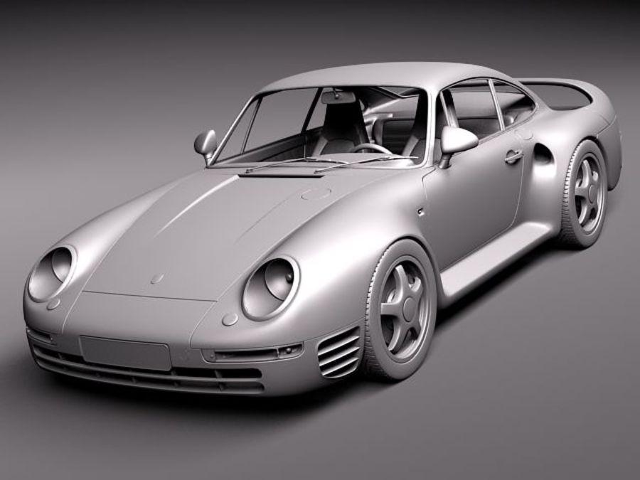 Porsche 959 1986 royalty-free 3d model - Preview no. 14