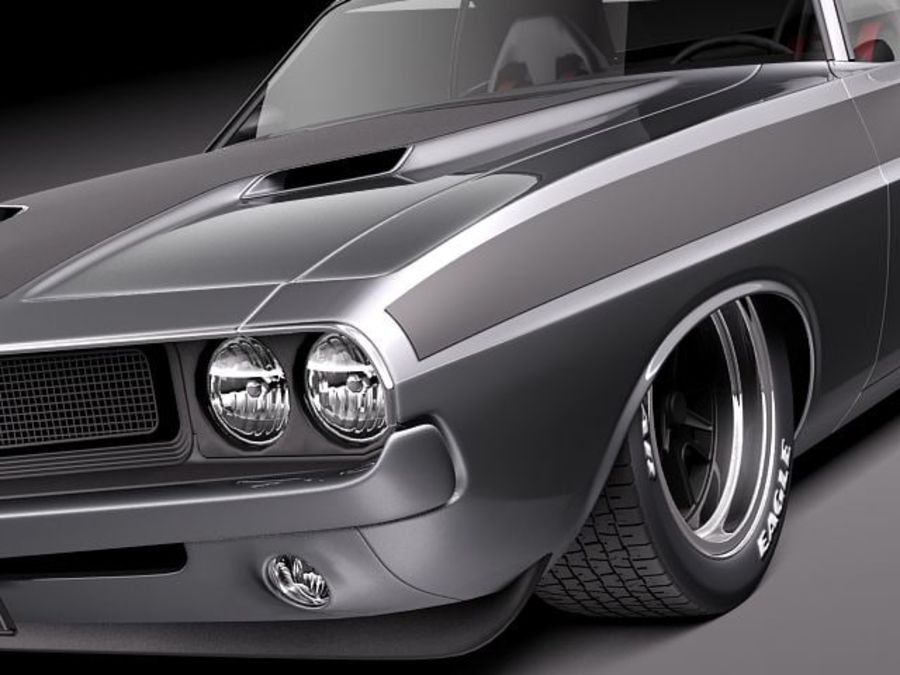 Dodge Challenger 1970 Custom royalty-free 3d model - Preview no. 3