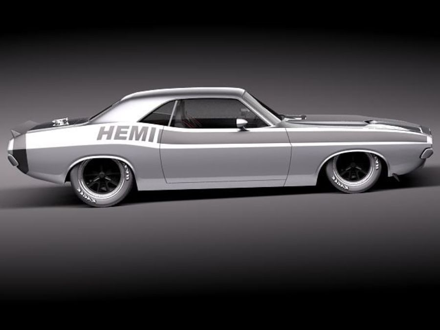 Desafiador do Dodge Challenger 1970 royalty-free 3d model - Preview no. 7