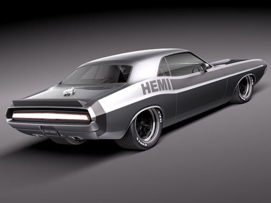 Desafiador do Dodge Challenger 1970 royalty-free 3d model - Preview no. 5