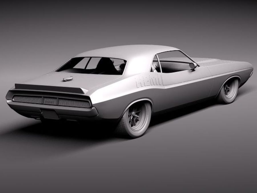 Desafiador do Dodge Challenger 1970 royalty-free 3d model - Preview no. 9