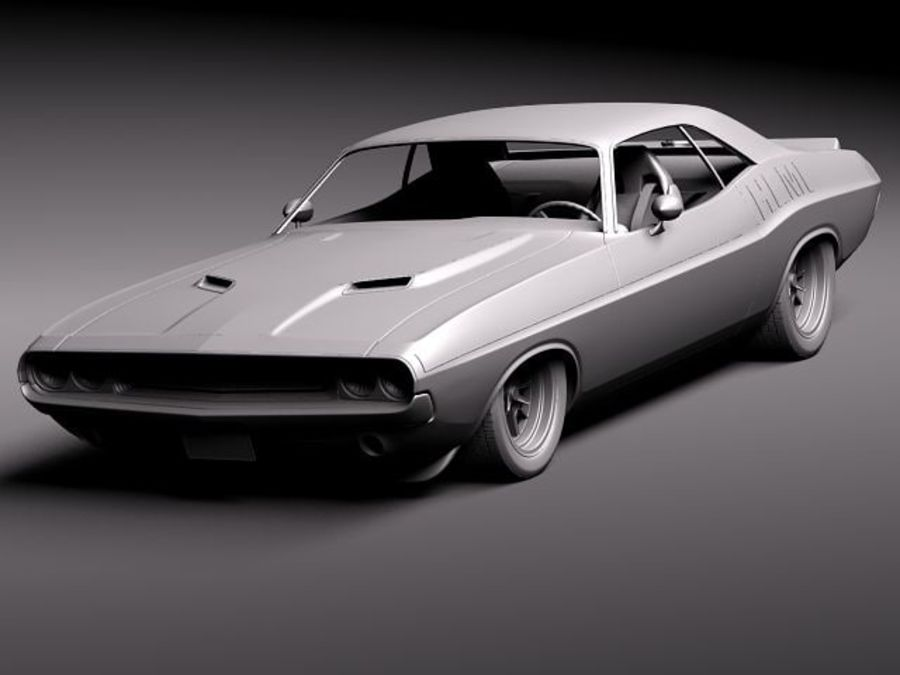 Desafiador do Dodge Challenger 1970 royalty-free 3d model - Preview no. 12