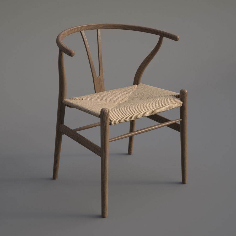 Wishbone Chair royalty-free 3d model - Preview no. 5