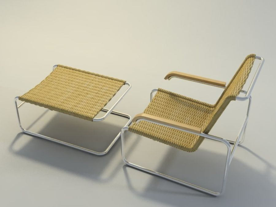 Breuer S35扶手椅和凳子(2) royalty-free 3d model - Preview no. 2