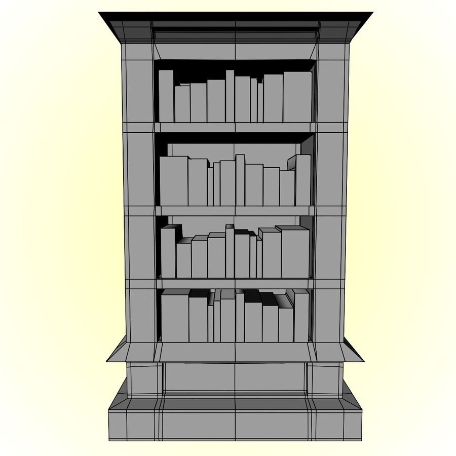 Bookcase royalty-free 3d model - Preview no. 10