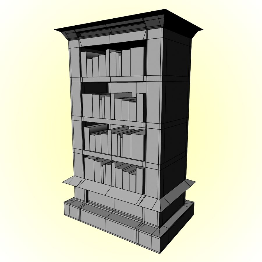 Bookcase royalty-free 3d model - Preview no. 11