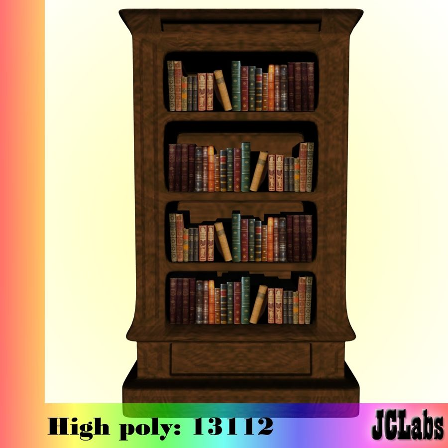 Bookcase royalty-free 3d model - Preview no. 3